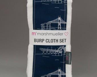 Burp Cloth Set in Navy Bridgetown Fabric, Baby Burp Rag Set,  Portland Bridges Baby Shower Gift, Baby Gift Under 25, 2 Pack Burp Cloth Set