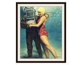 Scuba Dive Art, Scuba Diving Gift, Diver with Girl Photograph, Scuba Gifts, Scuba Art Vintage Florida Art Vintage Coastal Decor, Bell Helmet