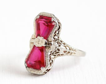 Vintage 14k White Gold Art Deco Created Ruby Ring - 1930s Size 5 1/2 Fancy Cut Double Pink Stone Flower Filigree Fine Jewelry