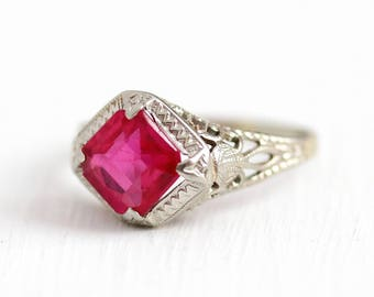 Created Ruby Ring - Vintage 14k White Gold Art Deco Pink Stone Filigree - Size 4 Antique 1920s July Birthstone Fine Floral Jewelry