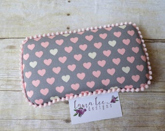 READY TO SHIP, Pink and Gray Hearts Travel Baby Wipe Case, Personalized Wipecase, Baby Shower Gift, Wipe Holder, Dipaer Bag Wipe Clutch