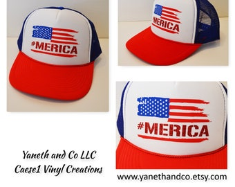 July 4th America Trucker hat,#merica Trucker hat,American Flag Trucker Hat with Red Glitter #Merica,Red white and blue trucker hat