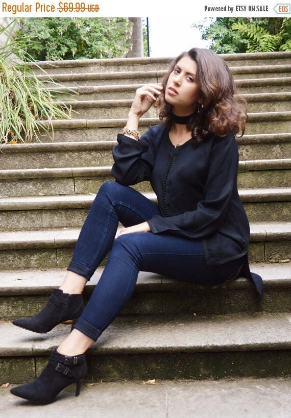 Autumn Dress 20% OFF/ Autumn Trend  Sara Style Black Magrib Shirt - perfect as eid gifts, as birthday, honeymoon gifts,anniversary gifts, we
