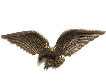 "Vintage, 24"" American Bald Eagle, Cast Brass Metal Eagle, Mantle Wall Decor Eagle, Eagle Wall Hanging, #7028 USA"