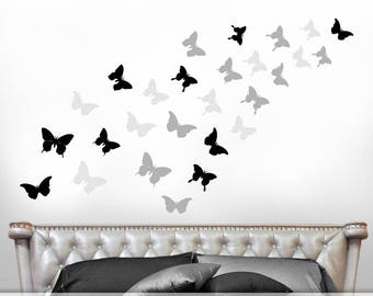 Butterfly Decals, Butterfly Decor for Girls Room, Butterflies Wall Decals, Bedroom Decor, Realistic Butterfly Silhouettes in Warm Colors