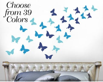Bedroom Decor Butterflies Wall Decal, Butterfly Wall Decals, Butterfly Decor for Girls Room, Realistic Butterfly Silhouettes Shown in Blue