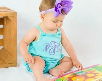 Baby Girl Summer Outfit Baby Girl Summer Outfit Baby Girl Bubble Romper Monogrammed Outfit Baby Girl Gift  Baby Girl Romper
