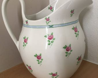 Vintage Antique English Pitcher with Blue Ribbon and Pink Roses Design