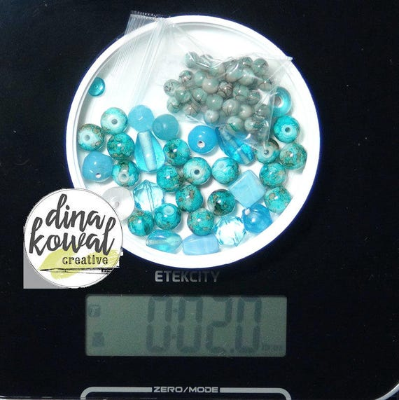Destash - 2 oz. quality glass bead mix - turquoise