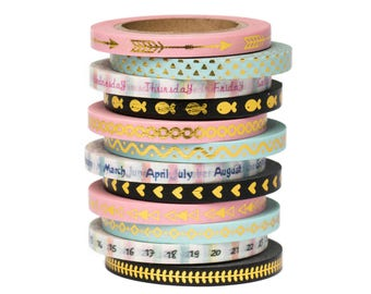 """12 Thin Foil Washi Tape Set - 11/64"""" Wide - Days of The Week - Planner Stickers - Scrapbooking - Erin Condren - Love My Tapes"""