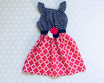 Sleeveless Navy and Peony Girl's Dress - Baby Girl Dress - Girls Dresses - Spring Dresses - Sleeveless Dresses - Hot pink Dress - Easter