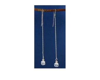 Sterling Silver Chain & Crystal Quartz Bead Long Shoulder Duster Earrings