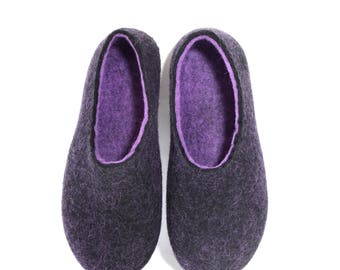 Felted wool slippers Custom color Rubber soles Mens House slippers Felt slippers Boiled wool slippers for Her Christmas Slippers Adults