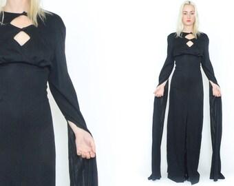 FUNKY 1970'S BLACK DRESS. Long Maxi Dress. Semi-Sheer. Layered Skirt. 70's Mod Grunge Minimalist Witchy. Oversized Dress. Size - M/L