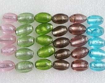 Murano Lampwork Glass Oval Beads - Set of 5