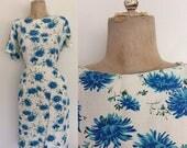 30% OFF 1960's Blue Floral Wiggle Dress w/ Pockets Size XL Plus Size by Maeberry Vintage