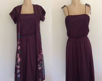 1970's Purple Polyester Dress & Floral Duster Size XS Small by Maeberry Vintage