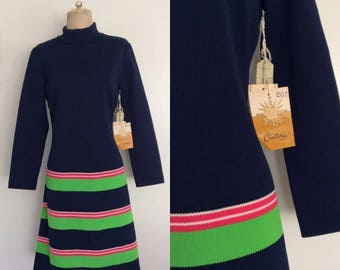 30% OFF 1970's Deadstock Striped Polyester Shift Dress