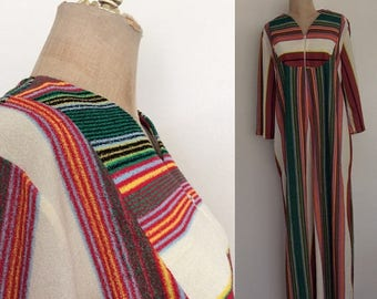 30% OFF 1970's Terrycloth Striped Maxi Dress w/ One Pocket Size Medium Large XL by Maeberry Vintage