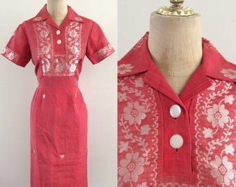 20% OFF 1960's Cotton Embroidered Red Wiggle Dress Vintage Man Men Dress Size Small Medium by Maeberry Vintage