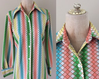 1970's Rainbow Print Polyester Button Up