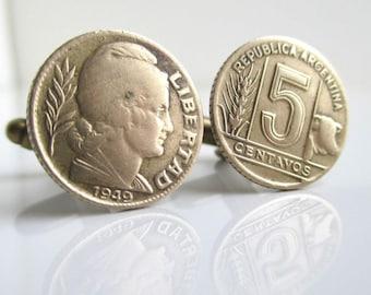 ARGENTINA Coin Cuff Links - Repurposed Vintage Republica Argentina Brass Coins