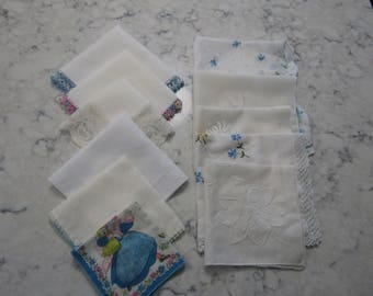 Vintage Lot of 11 Cotton Hankies--Hand Crocheted Lace --Hand Tatted Tatting In Blues & Purples--One Child's Hankie