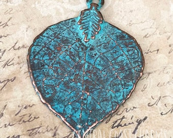 Large Leaf Charm Pendant - 45mm x 33mm - Copper Green Verdigris Patina - Woodland Hippie Boho - Mykonos Greek Casting - Central Coast Charms