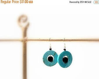 CIJ SALE Turquoise Dangle  Earrings, Round with Black Glass Beads