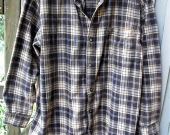 Funky Flannels/ Man's Gray-Yellow Vintage Flannel/ Size Large Cotton/ Soft, Washed Grunge Flannel/ Thrifted Shabbyfab Funwear