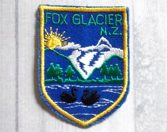 "Vintage Fox Glacier Patch 2.75"", New Zealand Souvenir Badge Applique, NZ Travel Collectible, Te Moeka o Tuawe Westland National Park"