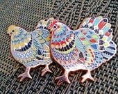 Ornate Chicken Pins in Rose Gold