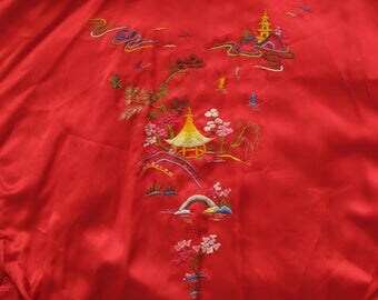 vintage embroidered satin kimono