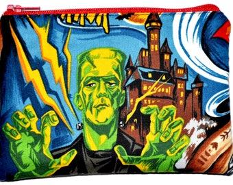 Frankenstein Dracula Hollywood Monsters Halloween Zipper Pouch Coin Purse Change Purse Wallet Gift Idea