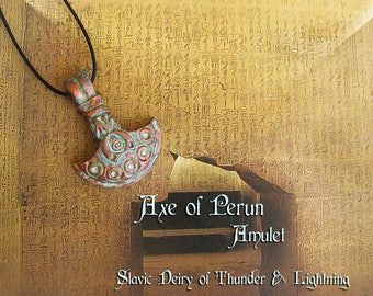 Axe of Perun Amulet - Slavic Deity of Thunder & Lightning -Patron of Soldiers and Warriors -Handmade Clay Pendant -Aged Copper Patina Finish