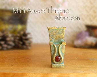 Throne of Auset Symbolic Miniature Altar Icon with Carnelian Cabochon - Egyptian Goddess Auset - Handcrafted - Golden Brass Patina Finish
