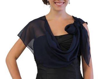 Summer Sale Chiffon Bridal Wrap Wedding Shawl - Navy Blue 5139CH