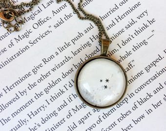 Harry Potter Necklace - stars necklace, book jewelry, book necklace, upcycled jewelry, book page necklace, gifts for book lovers, magical