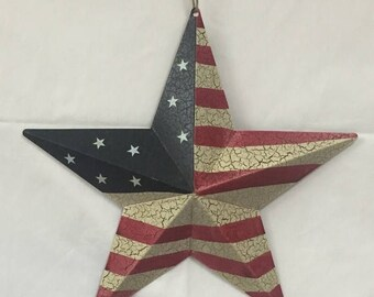 SUPPLY SALE 12 Inch Patriotic USA Metal Flag Star 6563-85