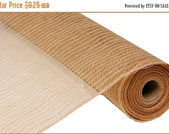 ON SALE 21 Inch Natural Jute Poly Mesh RY900518, Deco Mesh Supplies