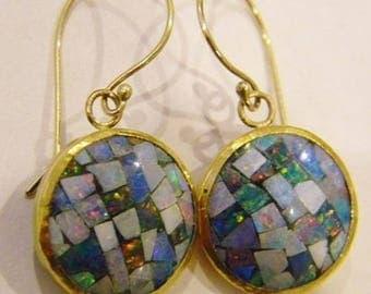 22k Solid Gold with Australian Mosaic Opal Earrings Handmade