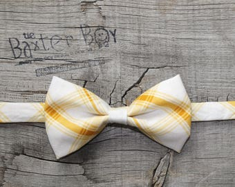 Golden yellow diagonal plaid bow tie, little boy bow tie - photo prop, wedding, ring bearer, holiday, accessory