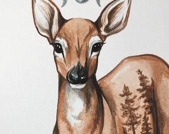 ORIGINAL Deer Moon Watercolor Painting 8x10 inches