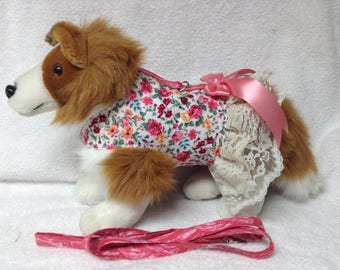 Dog Harness Vest Dress Skirt And Optional Matching Leash  Coral Floral Fabric  Custom Sizes From XSmall - Medium Lavender Polka Dot