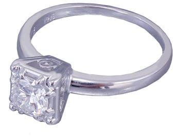 14k White Gold Round Cut Diamond Engagement Ring Art Deco Antique Style Prong Wedding, Halo, Bridal, Anniversary, Natural Diamonds 0.40ct
