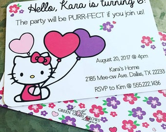 Hello kitty invitation Etsy