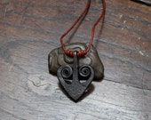 Forged Iron Spiral Heart Pendant