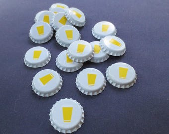 18 Bottle Caps, Unused, White with Graphic of Beer Glass with Suds
