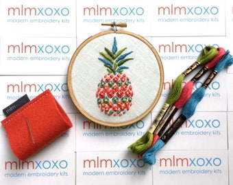 "Pineapple embroidery KIT by mlmxoxo.  modern embroidery kit.  embroidery pattern.  DIY needlework kit.  psychedelic.  housewarming.  4"" hoop"