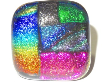Dichroic glass ring multicolor bright, shiny, geometric, handmade, unique piece